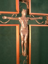 "Processional Cross, Bronze and wood, 32"" high"