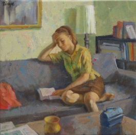 Reading , 12 x 12, Oil on canvas