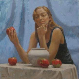 Apple Contemplation, 12 x 12, Oil on canvas