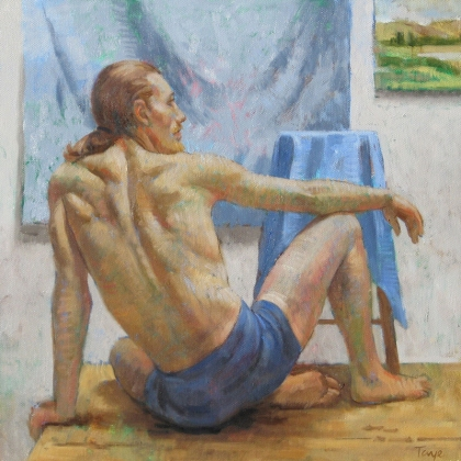 Resting Dancer, 18 x 18, Oil on canvas