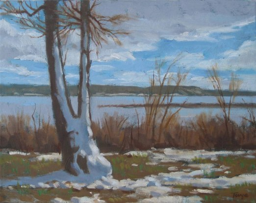 Late Spring Snow, Oil on canvas, 11 x 14