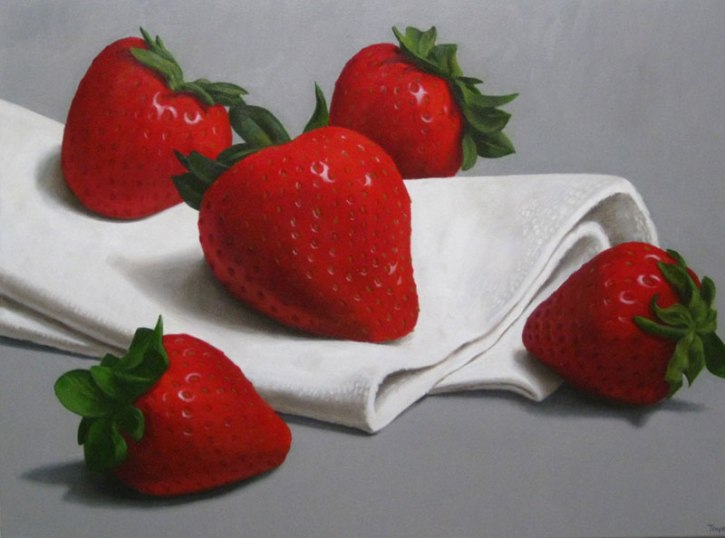 Strawberries and Napkin, Oil on canvas, 30 x 40