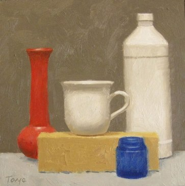 Arrangement with Red Vase, Oil on panel, 6 x 6