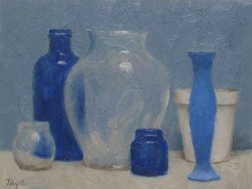 Arrangement in Blue, Oil on panel, 6 x 8