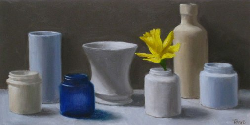 Arrangement with Daffodil, Oil on panel, 6 x 12