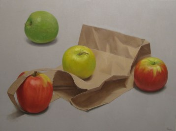 Apples and Bag, Oil on canvas, 30 x 40