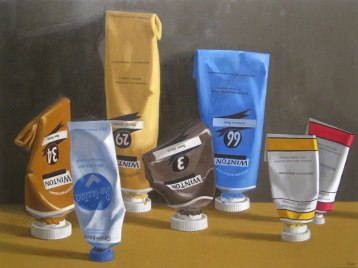 Tubes, Oil on canvas, 30 x 40