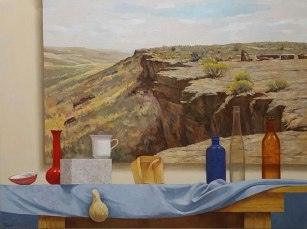 Still Life with Cliff Painting, Oil on canvas, 30 x 40