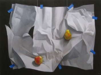 Paper and Fruit, Oil on canvas, 30 x 40