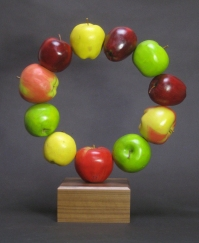 "Apple Ring, Basswood/oil paint, 14"" high"