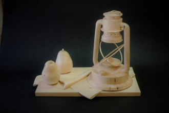 "Lantern and Pears, Basswood, 18"" high"