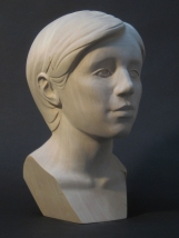 "Portrait Study, Basswood, 14"" high"