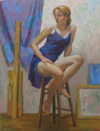 Dancer in Blue, Oil, 14 x 18