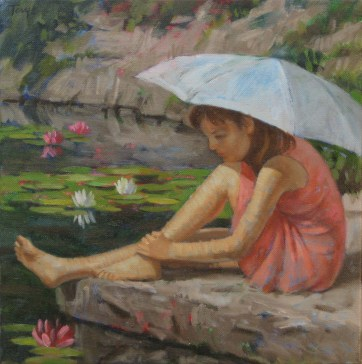 By the Lily Pond, Oil, 12 x 12