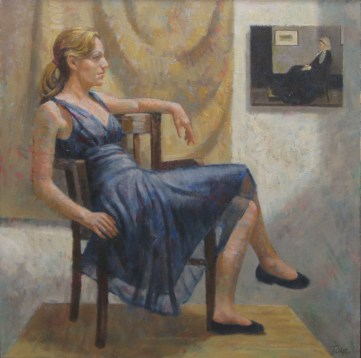 The Black Dress, Oil, 18 x 18