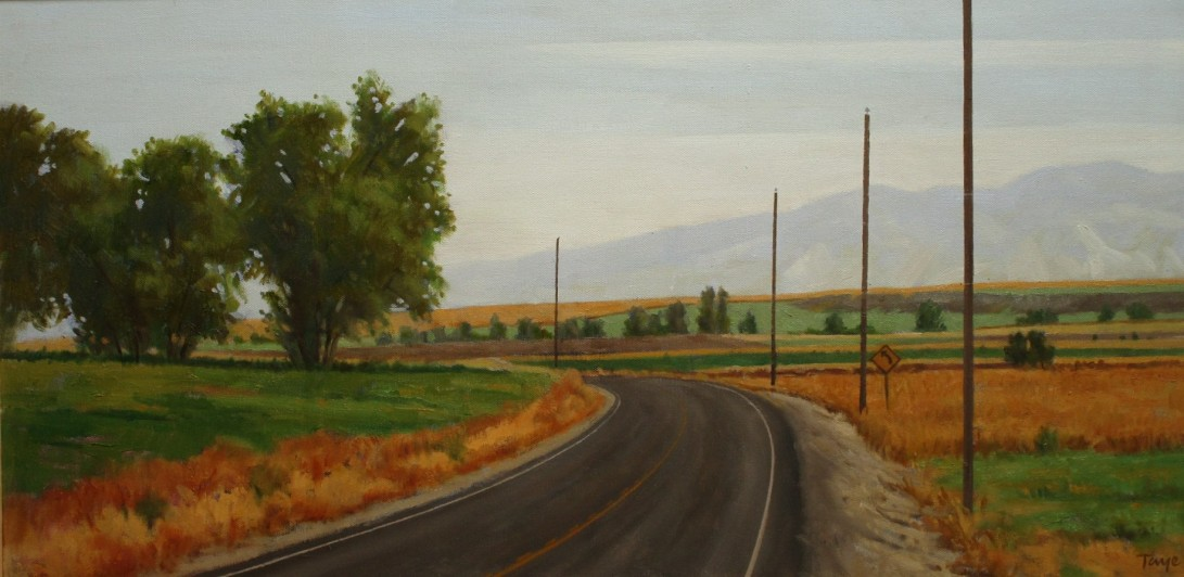 Bend in the Road, oil 15 x 30